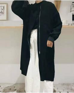淨色圓領棉質大衣外套 - 3634A    #全店新品4件起75折優惠碼 : -25OFF (HK$180) #