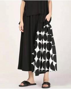 個性拼接波點寬鬆造型長裙-83835 #全店新品4件起75折優惠碼 : -25OFF (HK$128) #