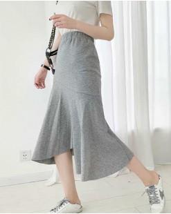 淨色不對稱荷葉襬A字針織長裙 - 83838 #全店新品4件起75折優惠碼 : -25OFF (HK$75) #
