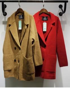 翻領毛絨雙口袋排釦外套 - 2044C #限特價優惠5折:HK$340 #(韓國直送)