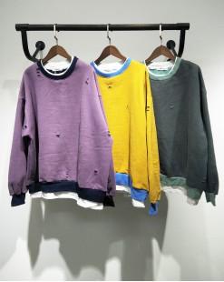 慵懶破洞字母假兩件衛衣 - 2058A #特價優惠5折:HK$100#