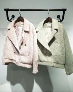 大翻領絨毛保暖短外套 - 2066A #特價優惠5折:HK$170#