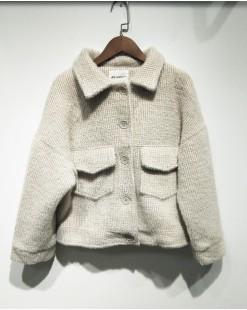 可愛保暖毛絨淨色短外套 - 2067A #特價優惠5折:HK$170#