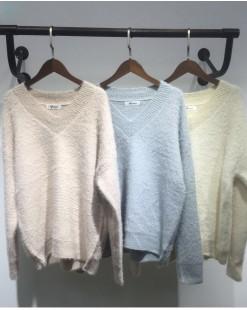 V領柔軟淨色保暖冷衫 - 2083A #特價優惠5折:HK$80#