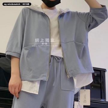 棉質有帽外套 - 3016B