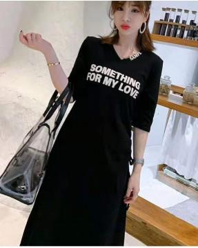 【新品】韓版V領修身字母連身裙-32035 #全店新品4件起75折:HK$105#