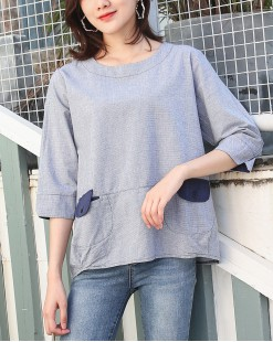 【新品】圓領淨色雙袋中袖T- 3555C #全店新品4件起75折:HK$105# (韓國直送)