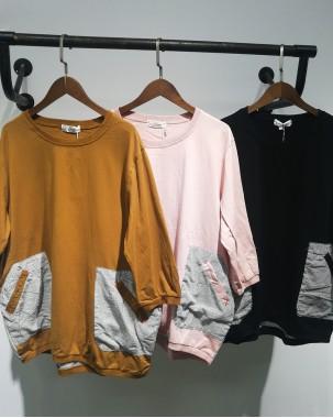 【新品】圓領淨色雙袋中袖T-3570C #全店新品4件起75折:HK$113#(韓國直送)