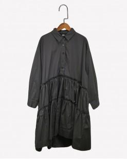 襯衫領大裙擺連身裙- 3628A # 全店新品4件起75折優惠碼 : -25OFF (HK$128) #