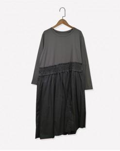 襯衫接駁不規則鬆身連身裙 - 3638A #全店新品4件起75折優惠碼 : -25OFF (HK$113) #