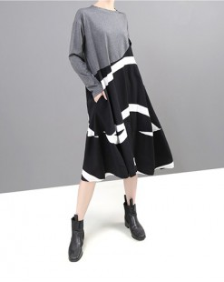 拼色大裙擺A字連身裙 - 3640A #全店新品4件起75折優惠碼 : -25OFF (HK$113) #