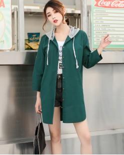 淨色衛衣帽鬆身長身恤衫 - 3657A  #全店新品4件起75折優惠碼 : -25OFF (HK$128) #