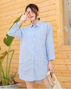 韓版新款條紋鬆身鈕釦恤衫 - 3660A   #全店新品4件起75折優惠碼 : -25OFF (HK$128) #