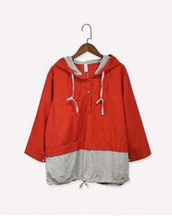 時尚可抽繩拼色接駁鬆身外套- 3664A #全店新品4件起75折優惠碼 : -25OFF (HK$113) #