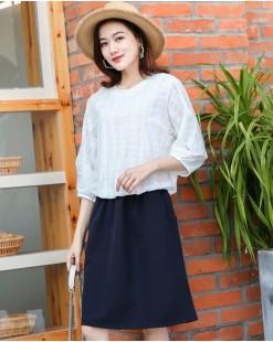 【新品】兩件式鏤空造型拼接連身裙 - 3703A #全店新品4件起75折:HK$120#