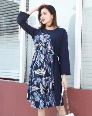 【新品】樹葉花捲袖連身裙 - 3704A #全店新品4件起75折:HK$120#