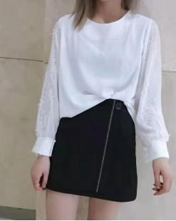 【新品】圓領蕾絲花袖淨色上衣 - 3757A #全店新品4件起75折:HK$113#