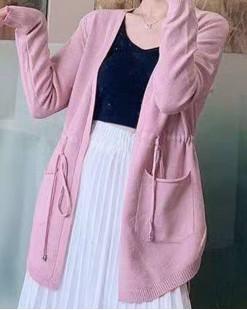 【新品】 雙口袋開襟長版縮腰針織外套 - 3763A    #全店新品4件起75折:HK$113 #