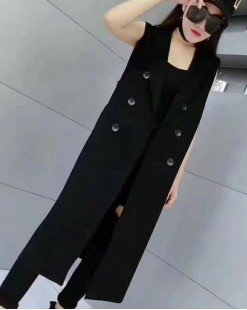 質感翻領雙排扣西裝背心外套 - 3767A #全店新品4件起75折優惠碼 : -25OFF (HK$188) #