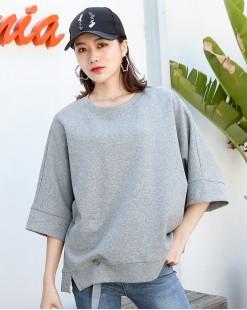 【新品】淨色設計感鬆身中袖T-3794A #全店新品4件起75折:HK$113#