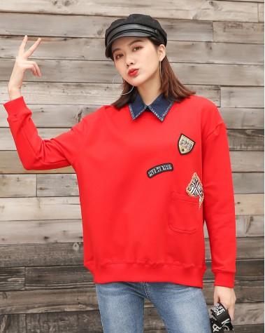小口袋牛仔翻領後拉鏈衛衣 - 3866A # 精選貨品7折優惠價:HK$119 #