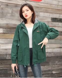 【新品】 Jiny獨特口袋設計淨色連帽短外套 - 3902C #全店新品4件起75折優惠碼:-25OFF (HK$225)  韓國直送 #