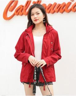 Jiny 時尚淨色雙口袋連帽短外套 - 3903C #全店新品4件起75折優惠碼:-25OFF (HK$225)  韓國直送 #