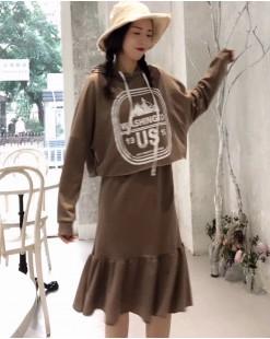 【新品】性感吊帶魚尾裙+連帽上衣 (兩件套)- 3909A #全店新品4件起75折:HK$105#