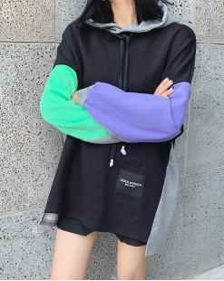 【新品】2ND SKIN 拼色袖連帽長身衛衣 - 3925C #全店新品4件起75折優惠碼:-25OFF (HK$150) 韓國直送 #
