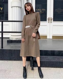 【新品】 圓領淨色束腰修身連身裙  -  3936A#全店新品4件起75折:HK$135#