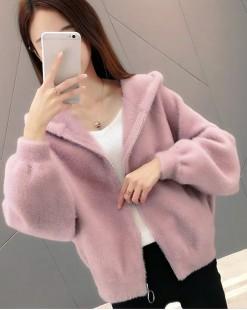 淨色可愛短身連帽絨外套 - 3952A #全店新品4件起75折:HK$165 #