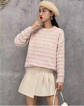 [新品]     短身圓領撞色橫間冷衫  - 3957A    #全店新品4件起75折:HK$120 #