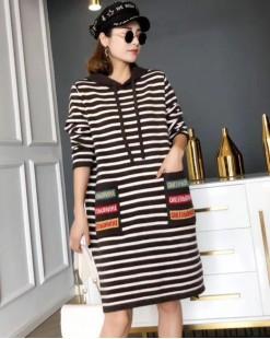 【新品】條紋質感針織連帽連身裙- 3968A#全店新品4件起75折:HK$165#