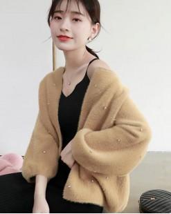 【新品】 圓領淨色毛絨短外套 - 3973A  #全店新品4件起75折:HK$150#