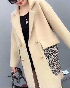 【新品】質感翻領豹紋大口袋外套 -3976A   #全店新品4件起75折:HK$383(韓國直送)#