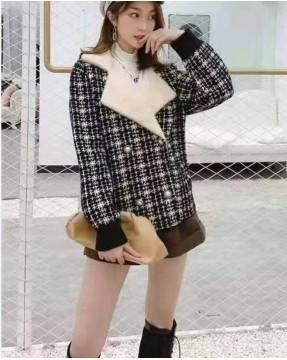 格仔質感翻領絨毛短外套  - 3977A #全店新品4件起75折:HK$319 #