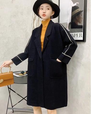 【新品】 質感翻領紐扣大衣外套 -3978A   #全店新品4件起75折:HK$383(韓國直送)#