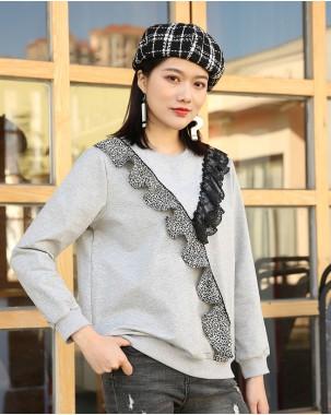 時尚豹紋蕾絲圓領衛衣 - 4001A# 精選貨品7折優惠價:HK$112 #