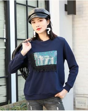 時尚蕾絲接駁邊圓領衛衣 - 4003A # 精選貨品7折優惠價:HK$112 #