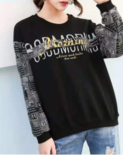 【新品】 炫彩字母印花拼色袖圓領衛衣 - 4021A #全店新品4件起75折:HK$113#