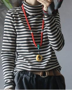 橫間高領修身棉料長袖T - 4024A #全店新品4件起75折優惠碼:-25OFF (HK$90) #