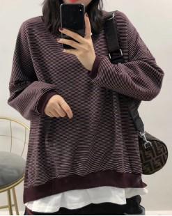 時尚橫間襯衫接駁假兩件衛衣 - 4025A  #全店新品4件起75折優惠碼:-25OFF (HK$128) #