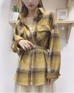 時尚雙口袋格仔鈕釦恤衫 - 4028A #全店新品4件起75折優惠碼: -25OFF (HK$105) #