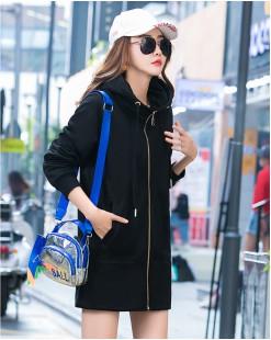 【新品】淨色雙側口袋拉鏈連帽抽繩長外套 - 4030A #全店新品4件起75折:HK$255 #