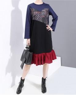拼色接駁荷葉邊連身裙 - 4034A #精選貨品7折優惠價:HK$119 #