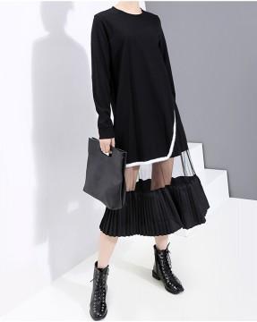 不規則接駁網面百褶下襬圓領連身裙 - 4037A #精選貨品7折優惠價:HK$133 #