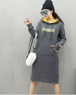 【新品】 字母印花大口袋拼色帽衛衣 - 4044A #全店新品4件起75折:HK$150 #