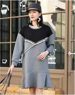 【新品】時尚拼色設計魚尾連身裙 - 4046A #全店新品4件起75折:HK$128#