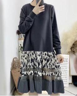【新品】碎花拼色接駁荷葉邊針織連身裙 - 4051A #全店新品4件起75折優惠碼 : -25OFF (HK$173) #