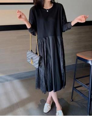 【新品】浪漫圓領蕾絲接駁連身裙- 4052A #全店新品4件起75折優惠碼 : -25OFF (HK$128) #